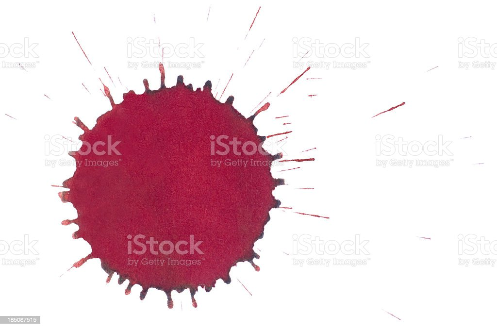 Isolated red ink splatter drop close-up royalty-free stock photo