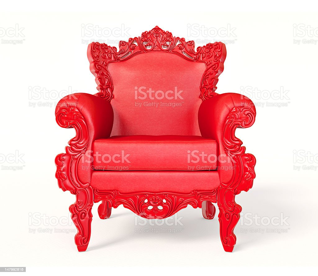 Isolated Red luxurious arm chair stock photo