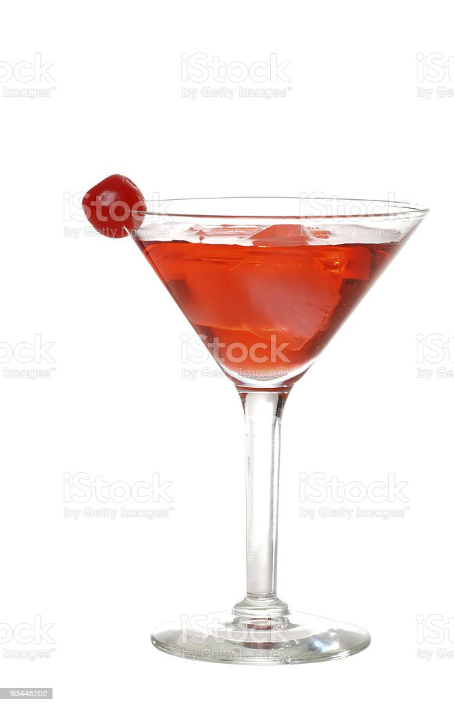 Isolated red martini with a cherry stock photo