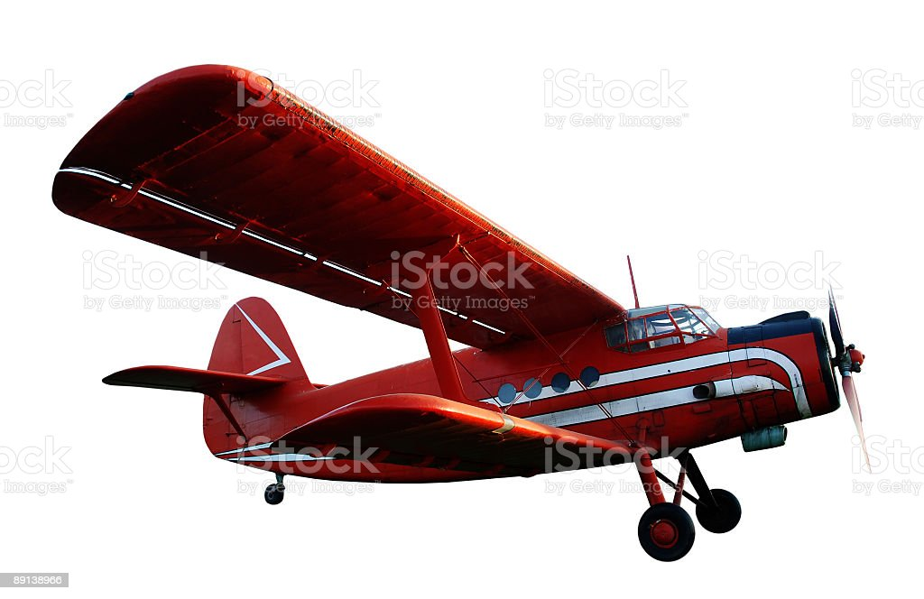 Isolated red plane royalty-free stock photo