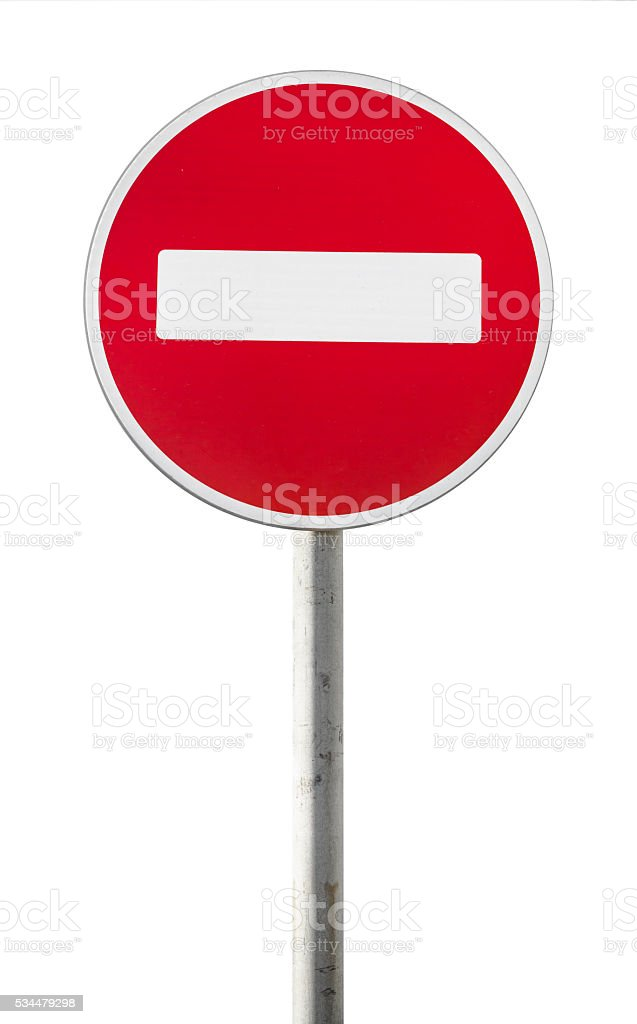 Isolated red road sign on metal pole. No Entry stock photo