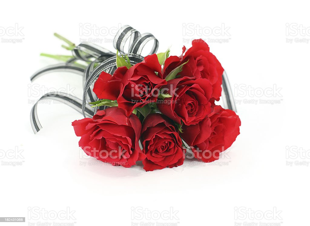 Isolated red rose flower bouquet with black ribbon bow stock photo