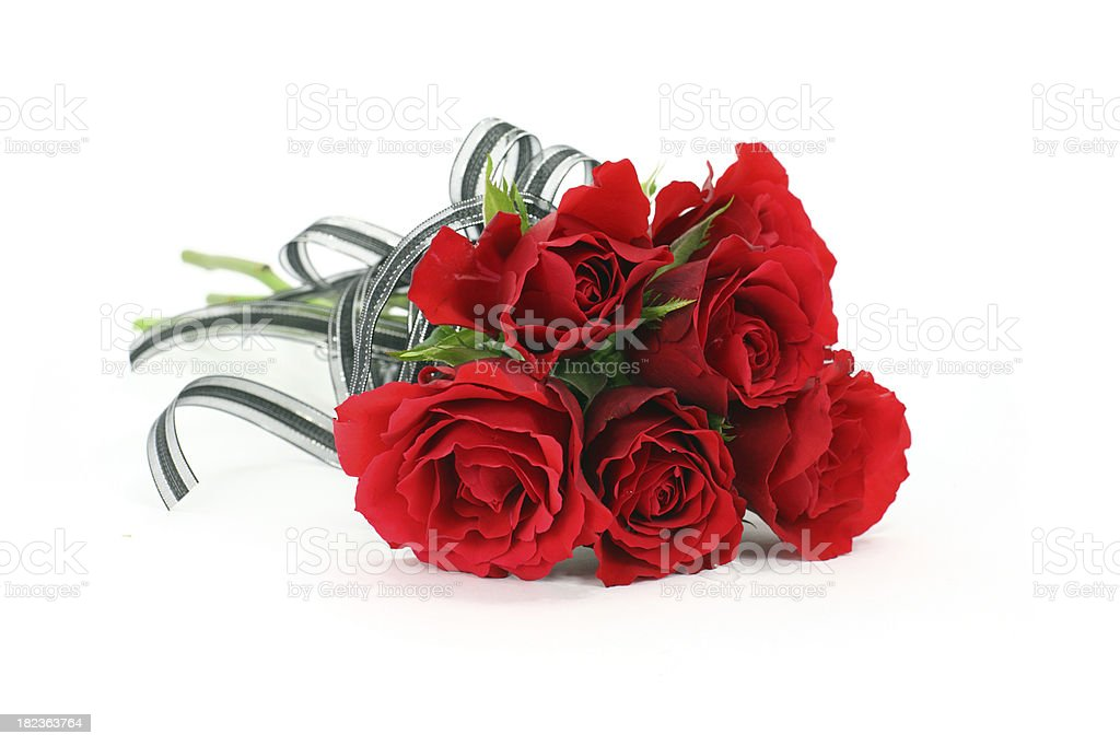 Isolated red rose valentines flower bouquet with black ribbon bo stock photo