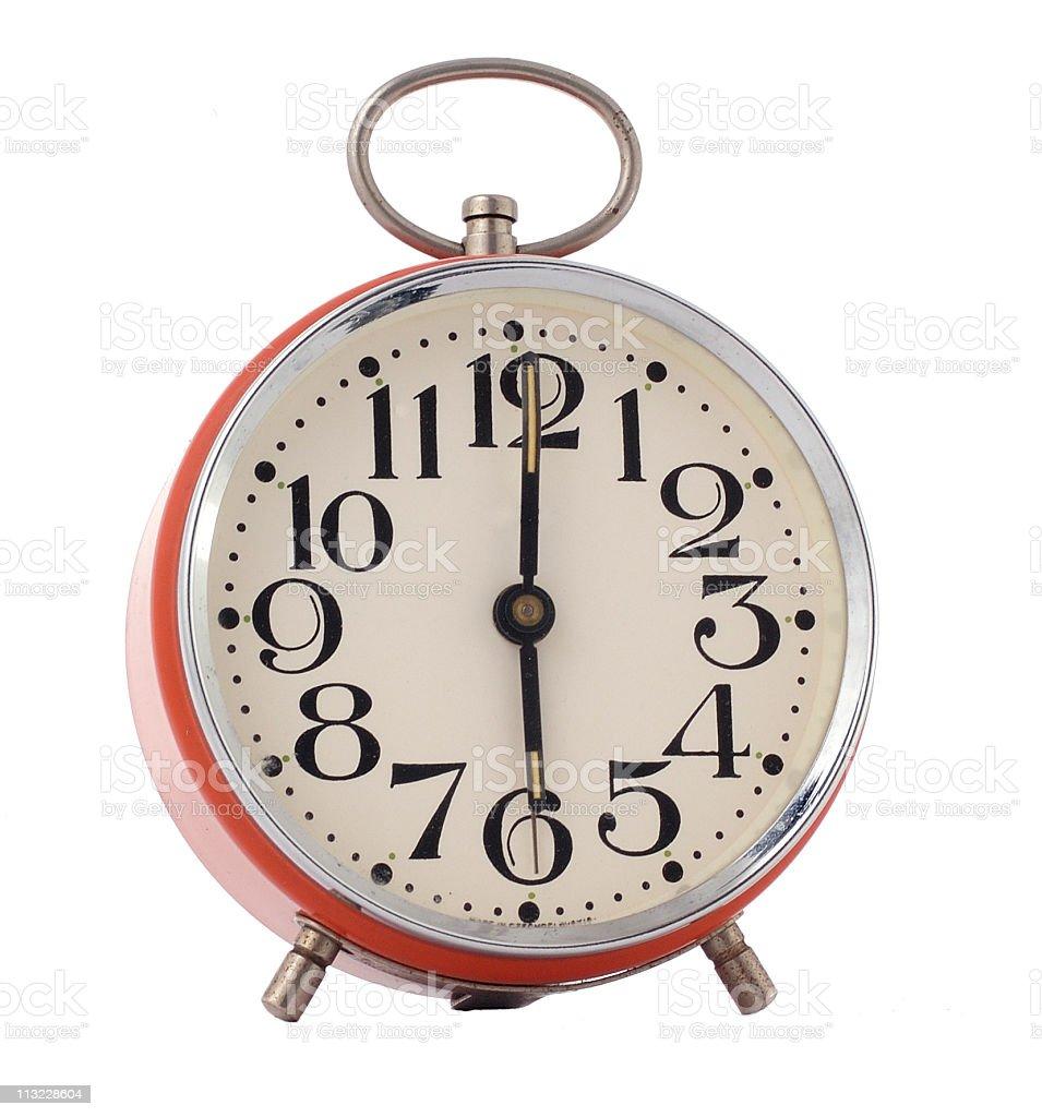 isolated retro alarm clock at 6 am royalty-free stock photo