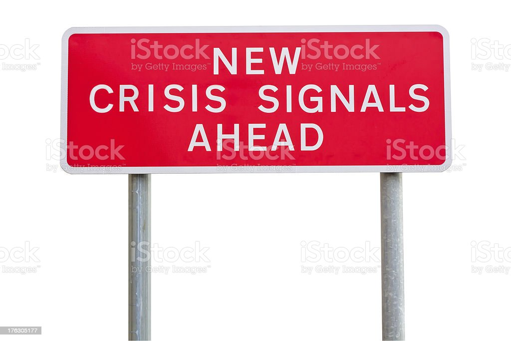 isolated road sign warning about crisis, concept royalty-free stock photo