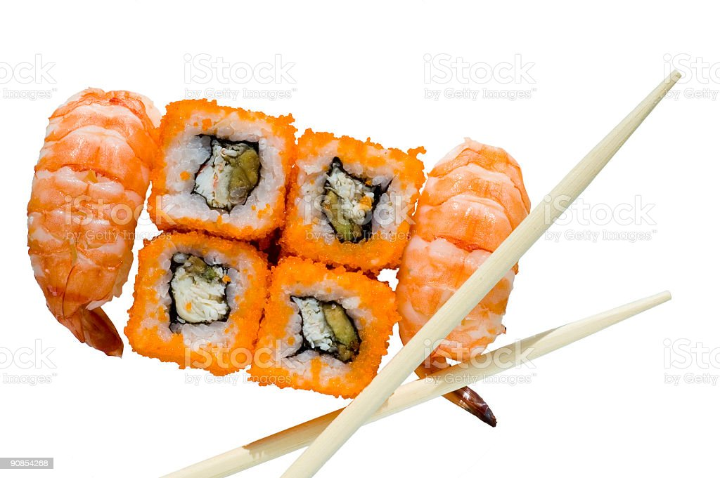 Isolated rolls & sushi with chopsticks royalty-free stock photo