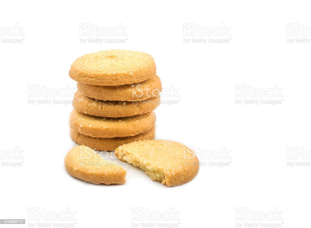 Isolated round butter cookies or biscuit stock photo