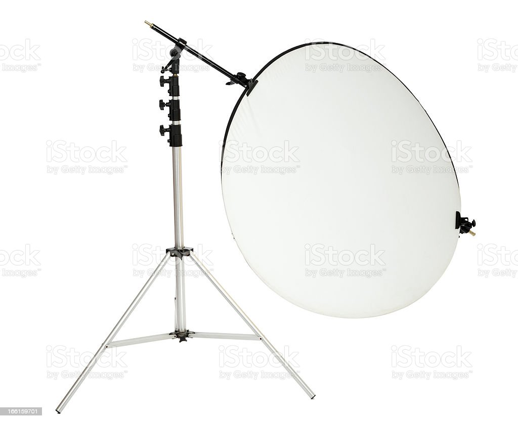 Isolated Round Studio Photography Reflector and Stand royalty-free stock photo
