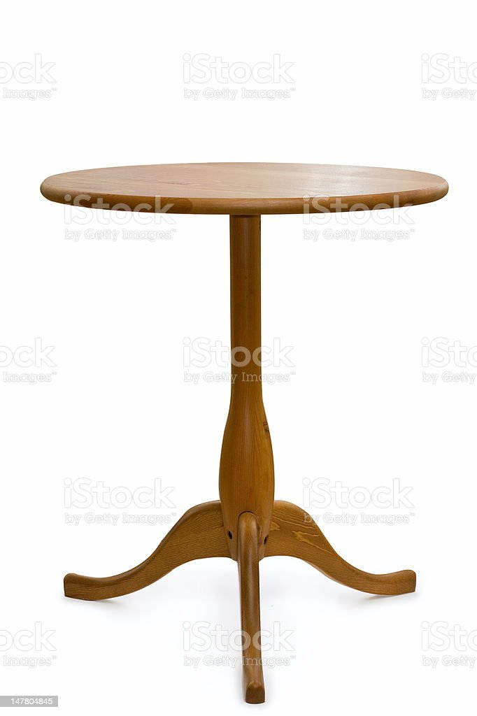 Isolated round wooden table on white stock photo