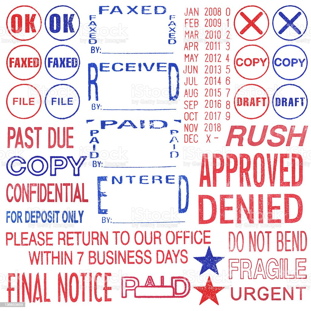 Isolated Rubber Stamps stock photo