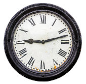 Isolated Rustic Old Station Clock