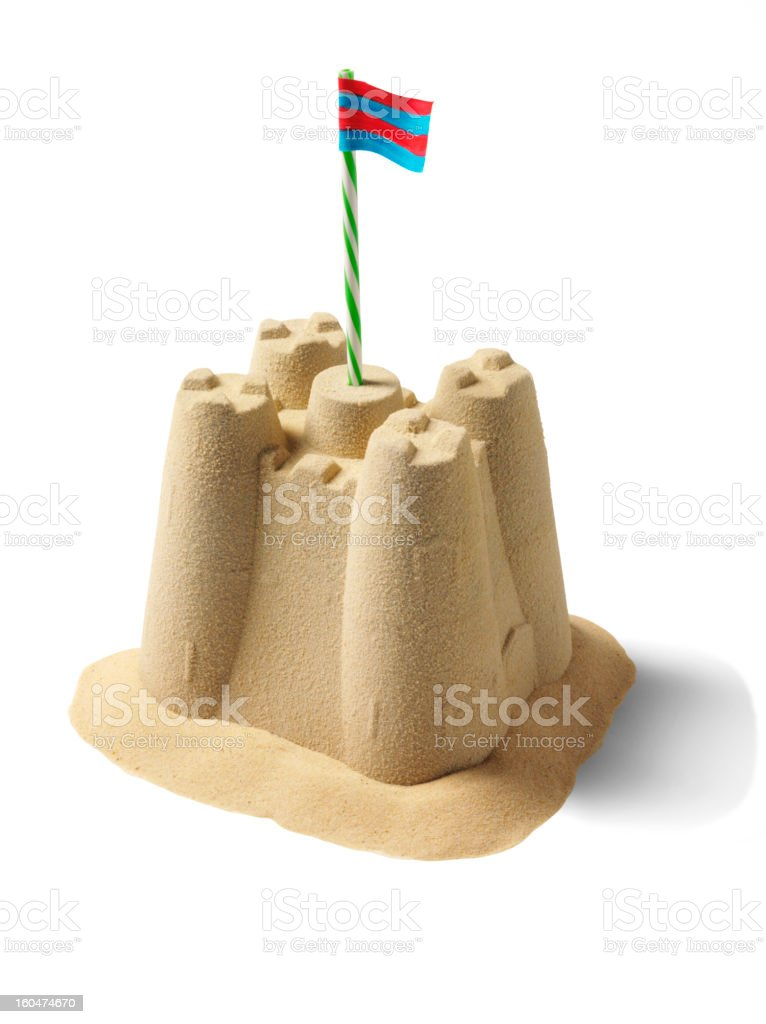 Isolated Sandcastle stock photo