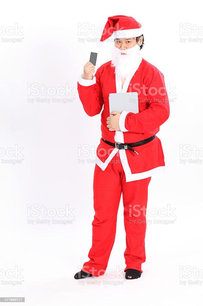 Isolated santa claus show card stock photo