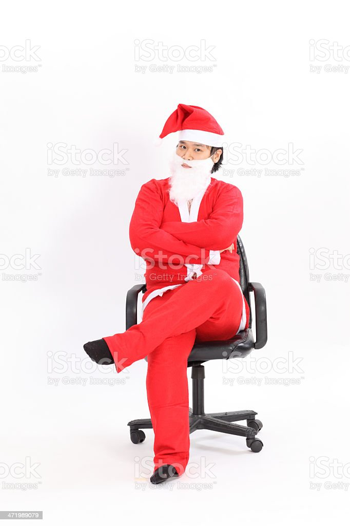 Isolated santa claus sit on the chair overwhite background stock photo
