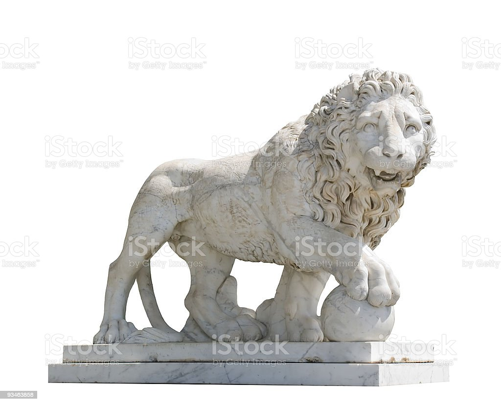 Isolated sculpture of a lion royalty-free stock photo