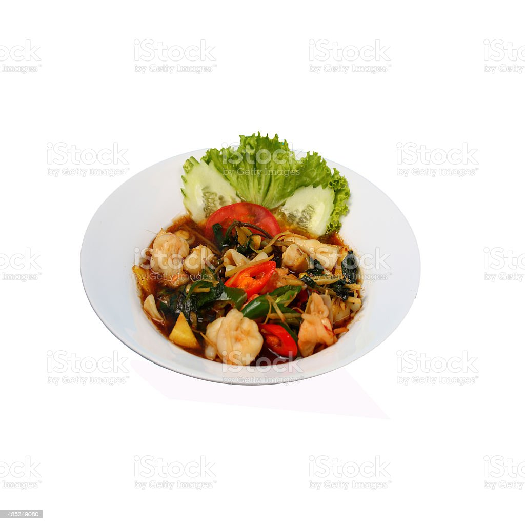 Isolated seafood stir fry stock photo