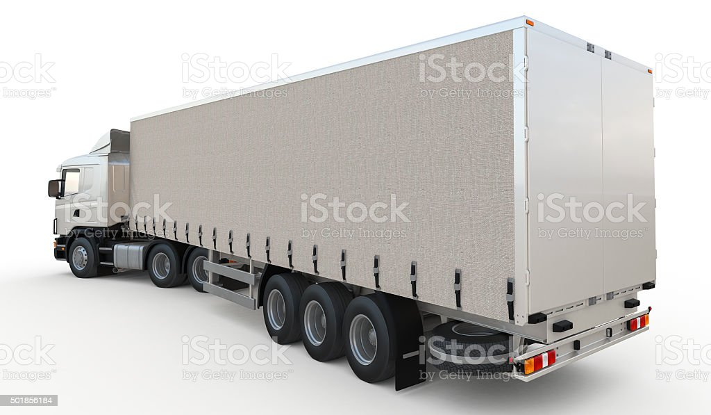 Isolated semi-trailer truck on white background stock photo