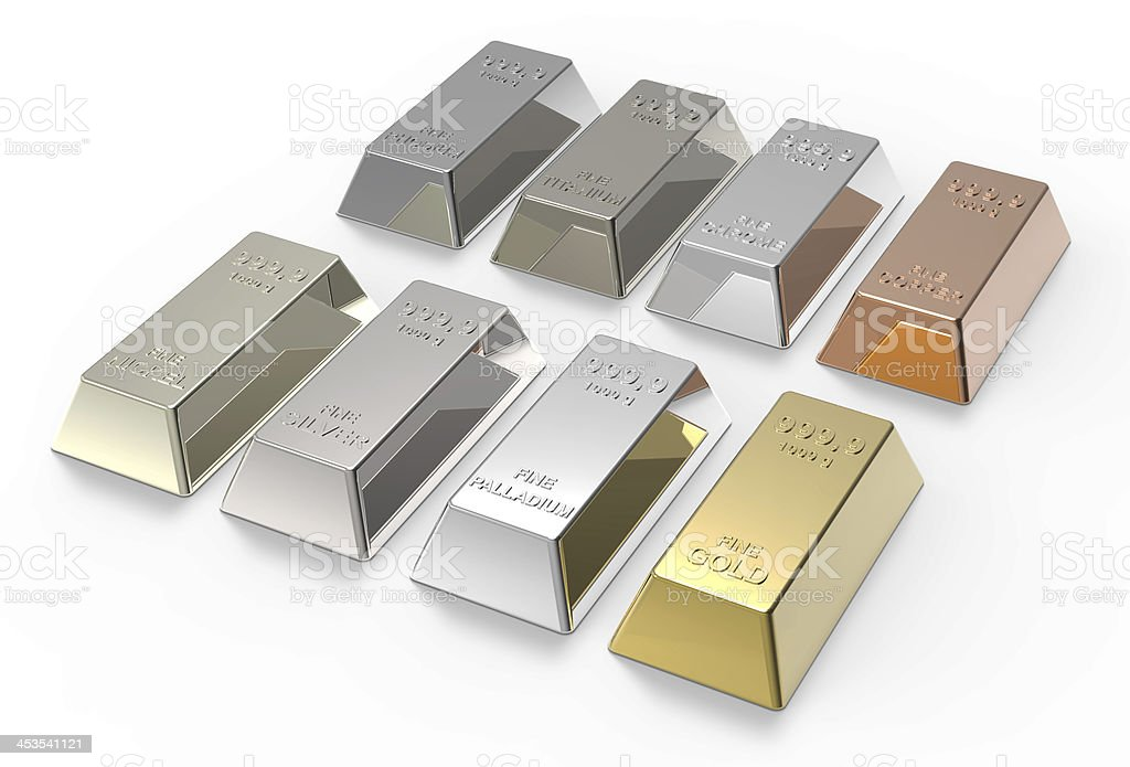 Isolated set of three-dimenstional metal ingots stock photo