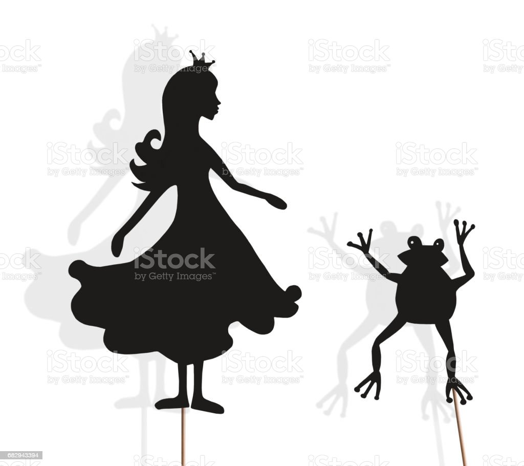 Isolated shadow puppets of Princess and Frog stock photo