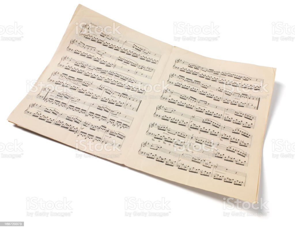 Isolated Sheet Music stock photo