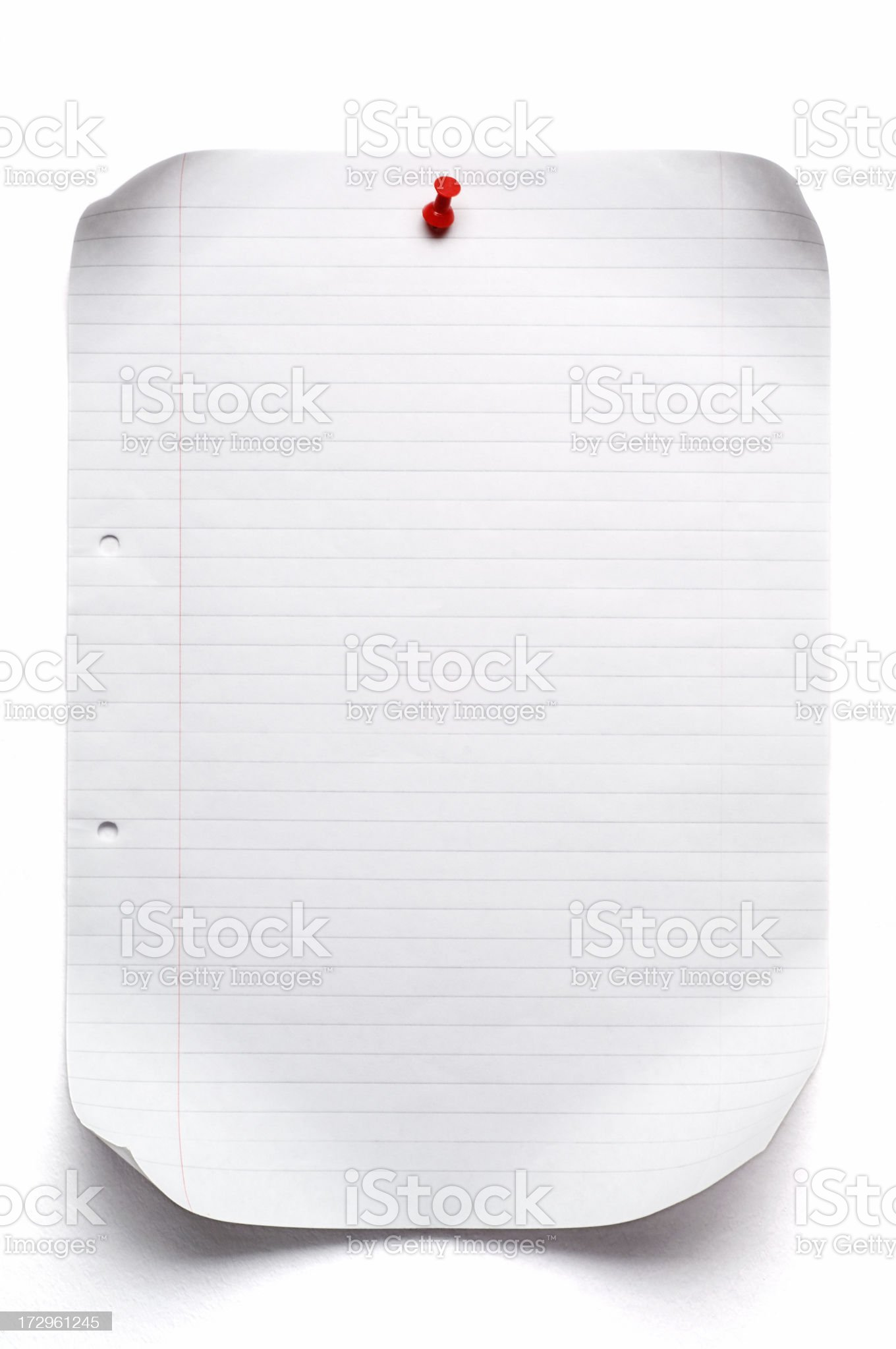 isolated sheet of lined paper royalty-free stock photo