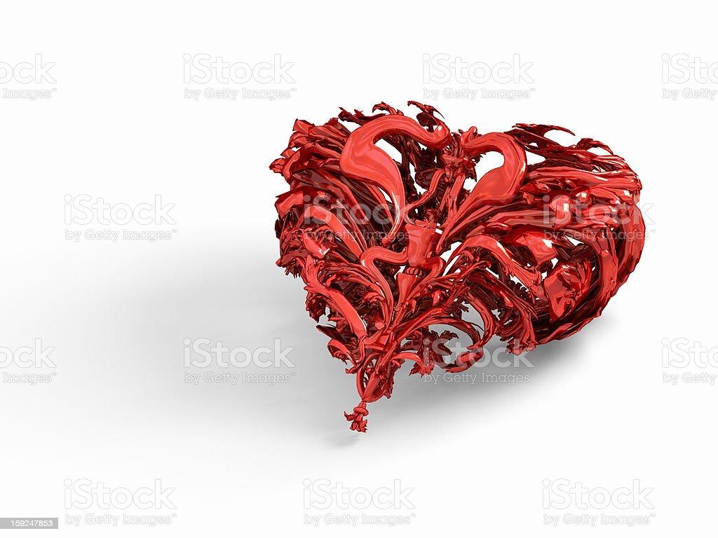 Isolated shiny red valentines heart royalty-free stock photo