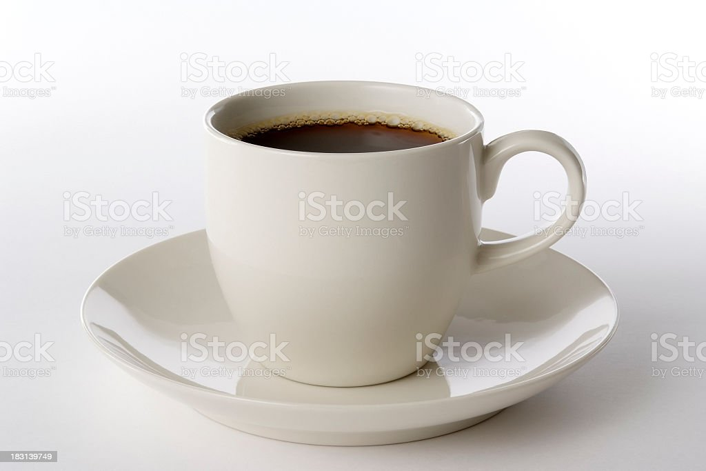 Isolated shot of a cup of coffee on white background royalty-free stock photo