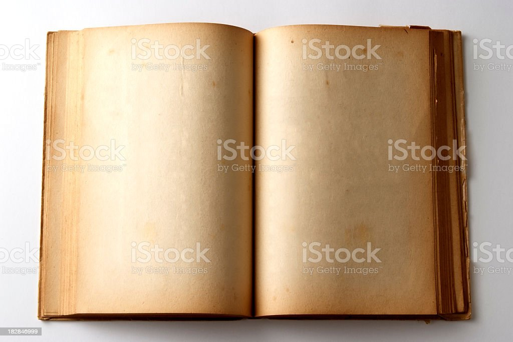 Isolated shot of aged blank book on white background royalty-free stock photo