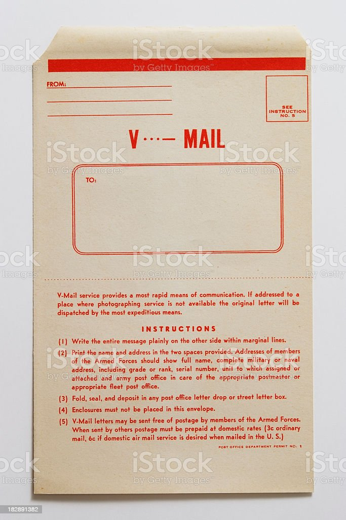Isolated shot of antique air mail envelope on white background stock photo