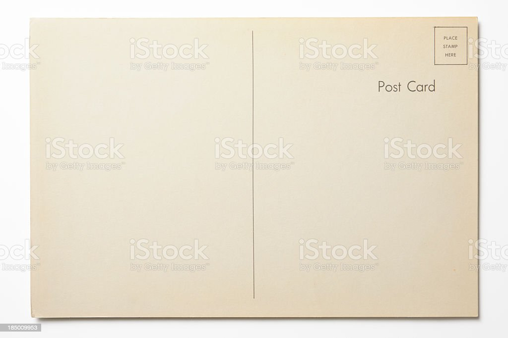Isolated shot of antique postcard on white background stock photo