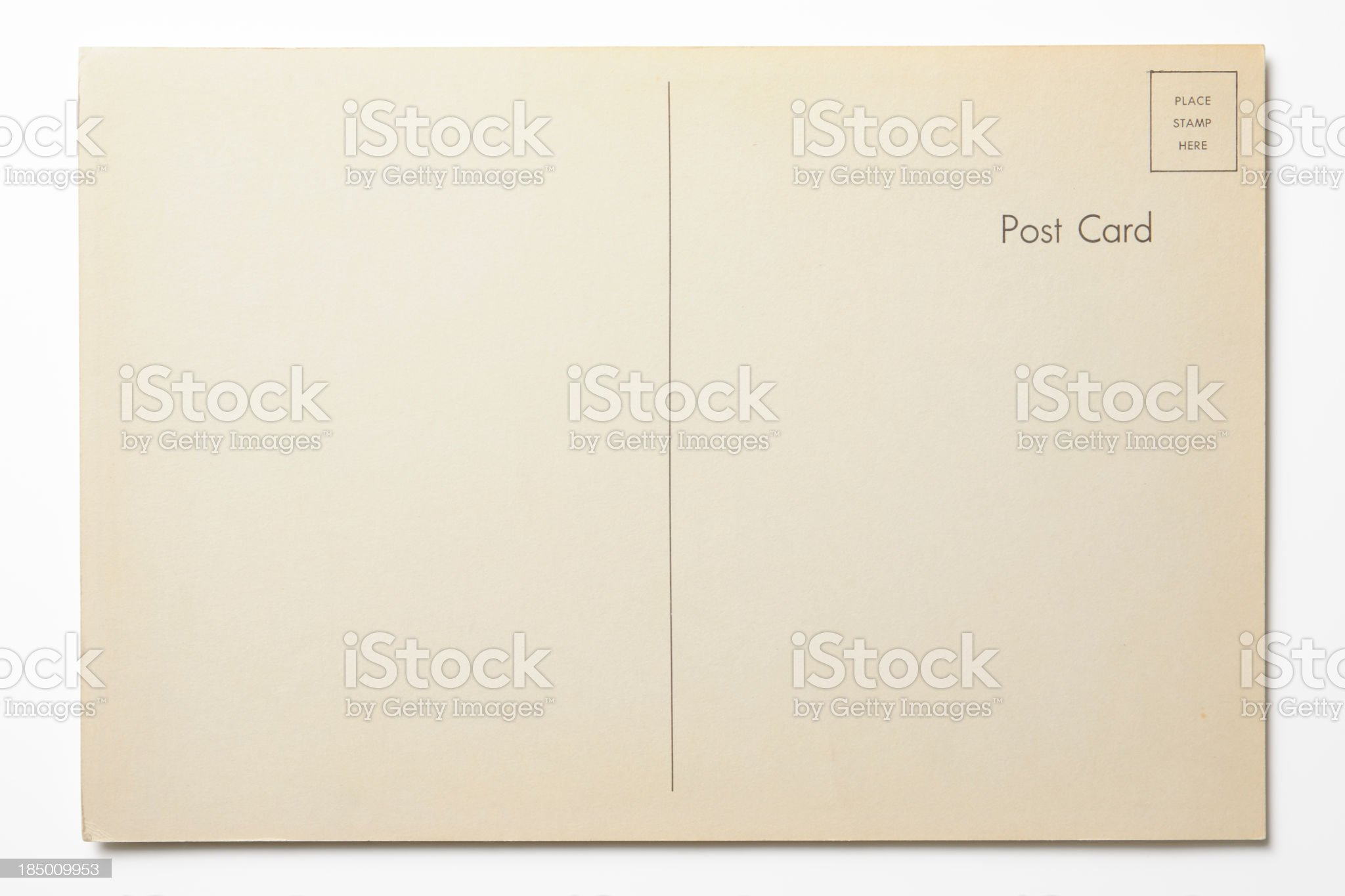Isolated shot of antique postcard on white background royalty-free stock photo