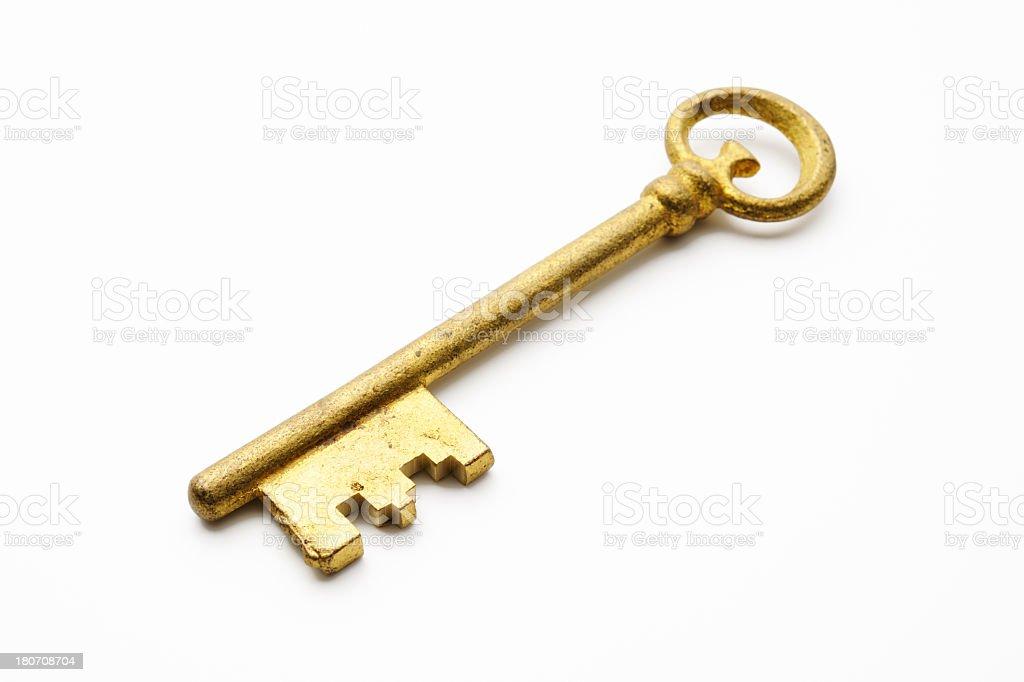 Isolated shot of antique skeleton key on white background royalty-free stock photo
