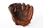 Isolated shot of baseball glove on white background