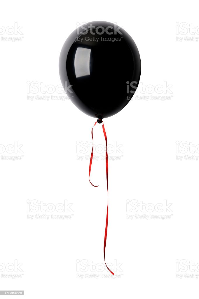 Isolated shot of black balloon with ribbon against white background royalty-free stock photo