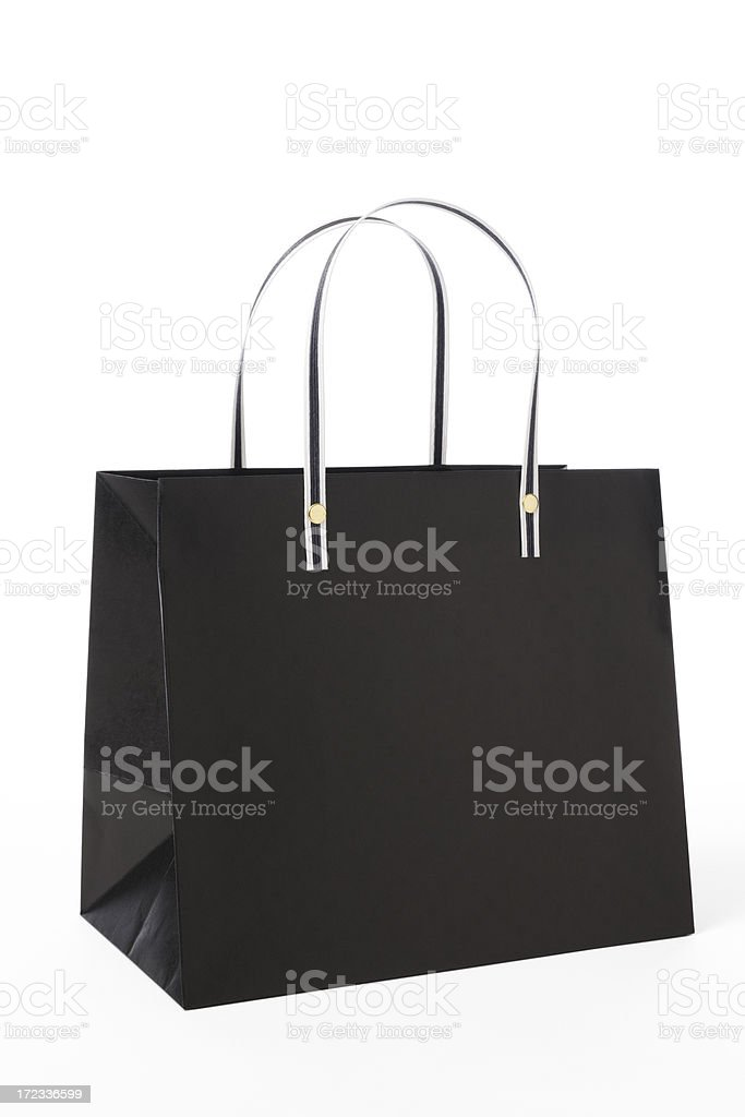 Isolated shot of blank black shopping bag on white background royalty-free stock photo