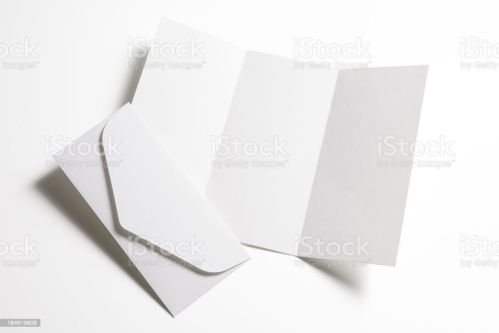 Isolated shot of blank booklet with envelope on white background royalty-free stock photo