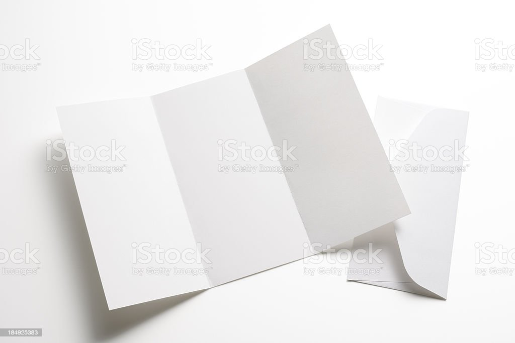 Isolated shot of blank booklet with envelope on white background stock photo