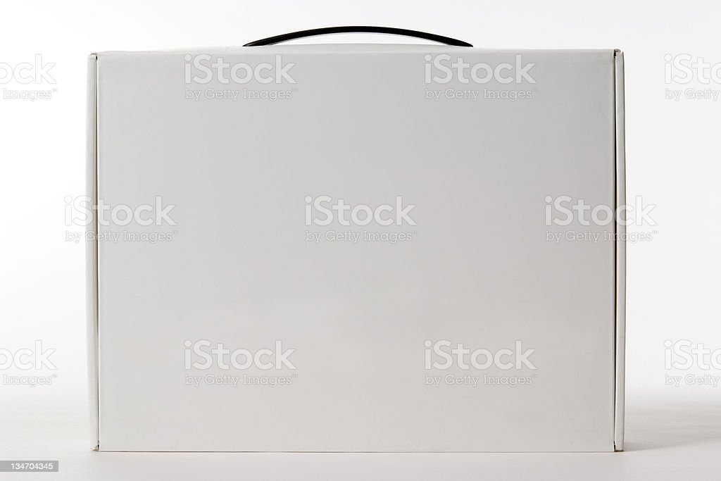 Isolated shot of blank box with handle on white background stock photo