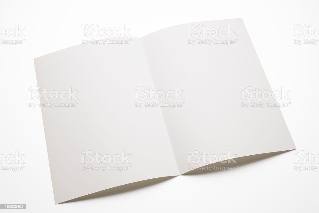 Isolated shot of blank brochure on white background stock photo