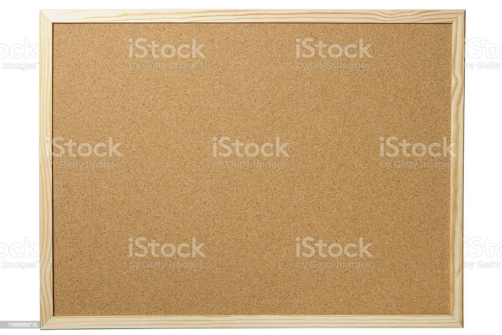 Isolated shot of blank cork board on white background stock photo