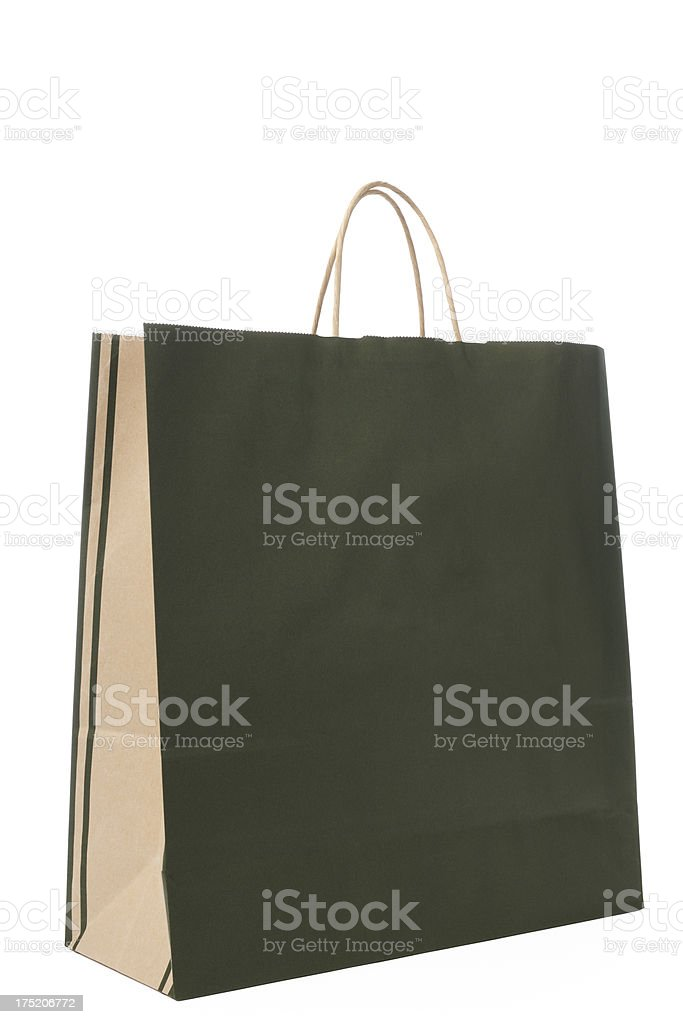 Isolated shot of blank green shopping bag on white background royalty-free stock photo