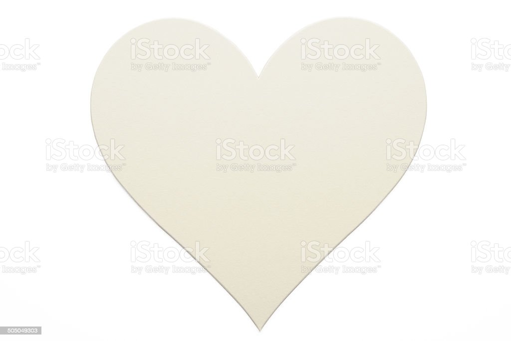 Isolated shot of blank heart shape label on white background royalty-free stock photo