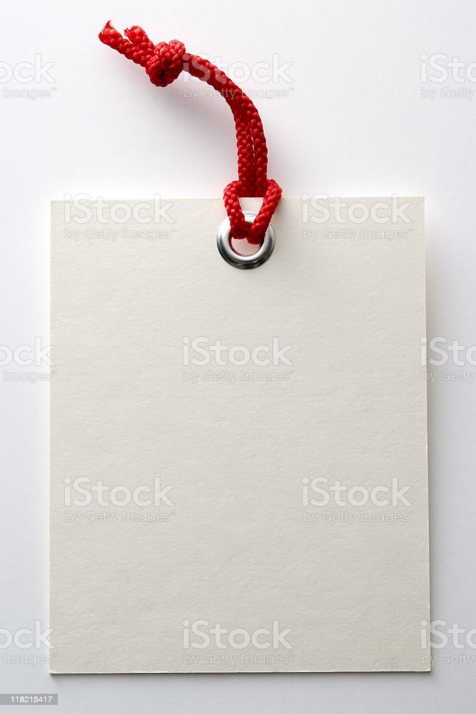 Isolated shot of blank large tag on white background stock photo