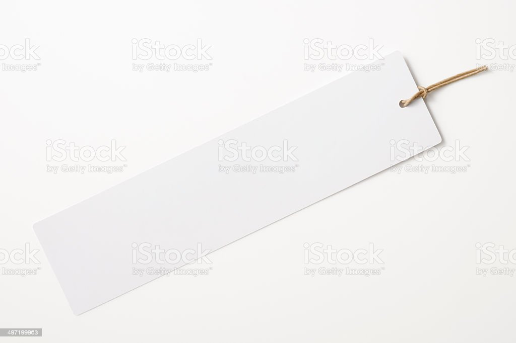 Isolated shot of blank long tag on white background stock photo