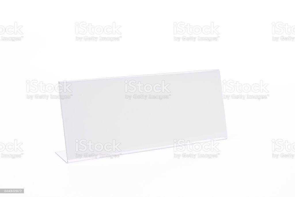 Isolated shot of blank nameplate on white background stock photo
