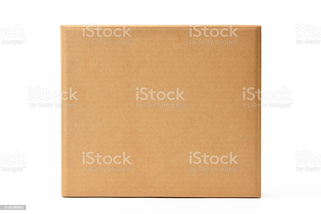 Isolated shot of blank old cardboard box on white background stock photo