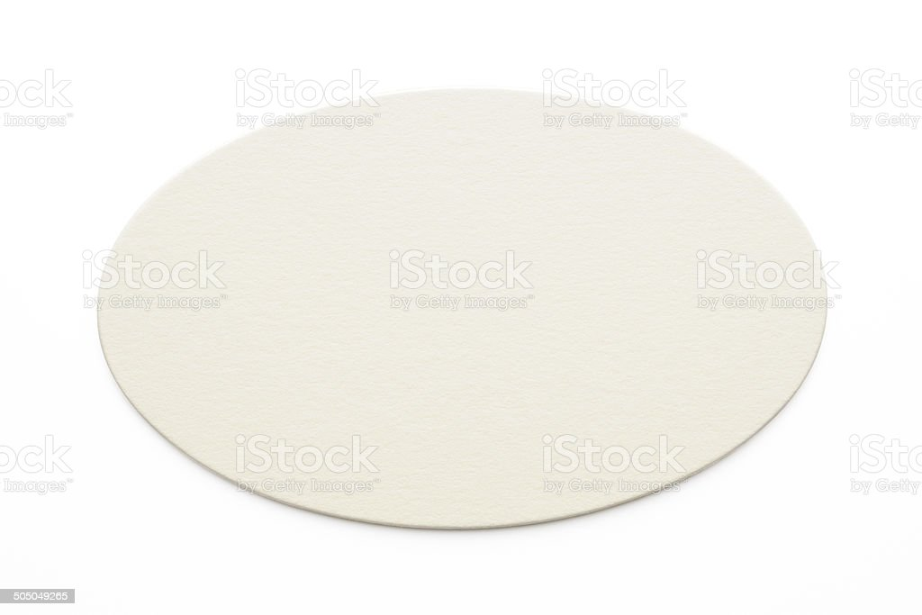 Isolated shot of blank oval shape label on white background stock photo
