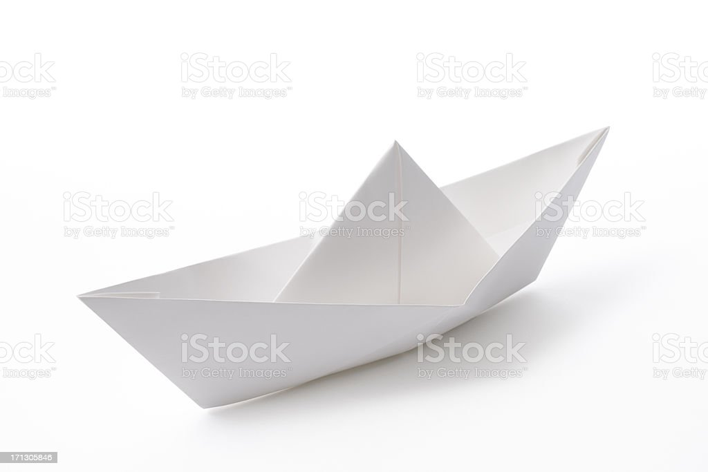 Isolated shot of blank paper boat on white background stock photo