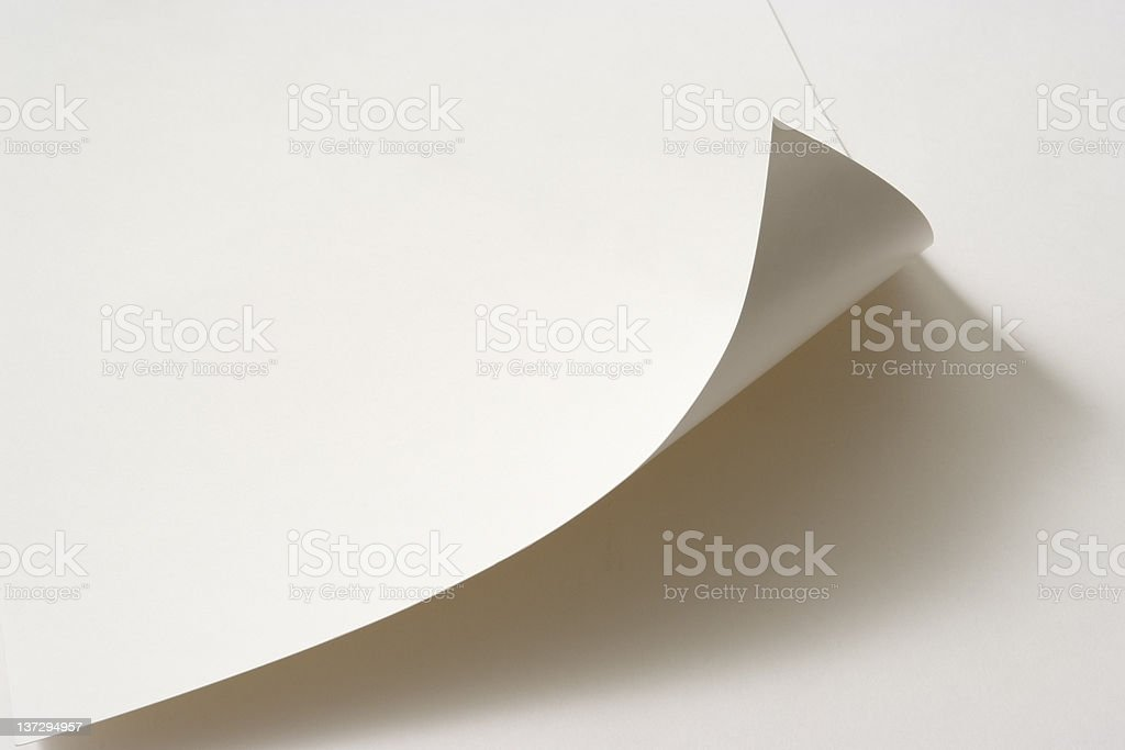 Isolated shot of blank paper curled up on white background royalty-free stock photo