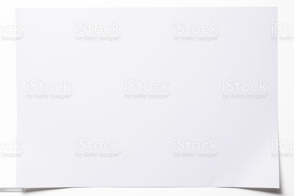 Isolated shot of blank paper on white background stock photo